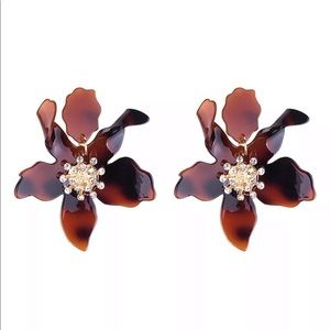 Tortoise, Black, or White statement Lily Earrings
